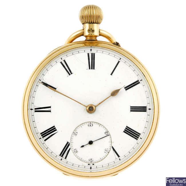 An 18ct gold open face pocket watch.