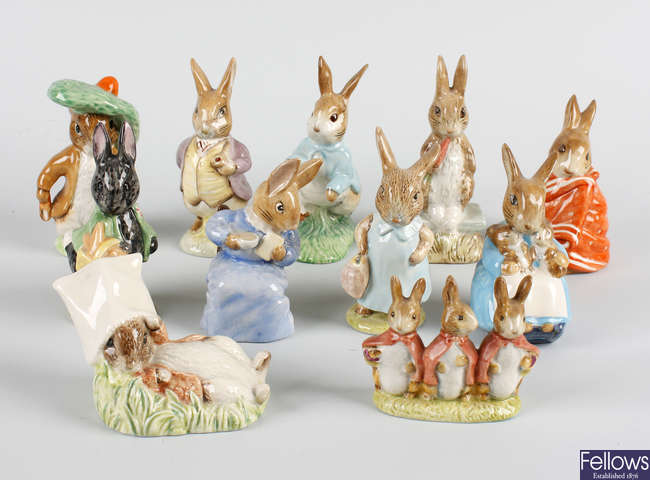 A group of Beswick rabbit figures