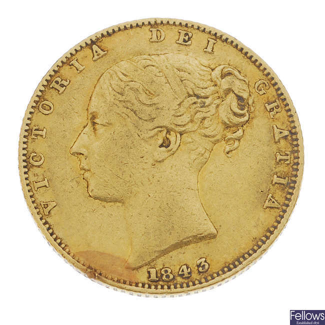 Victoria, Sovereign 1843, young head.