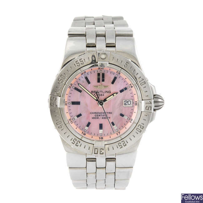 BREITLING - a lady's stainless steel Windrider Starliner bracelet watch.