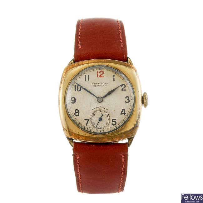 LONGINES - a gentleman's rolled gold wrist watch.