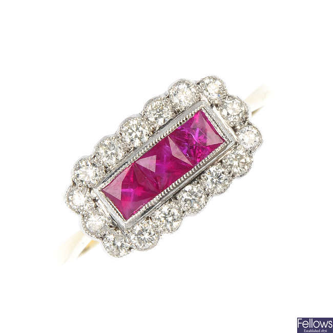 A ruby and diamond ring.
