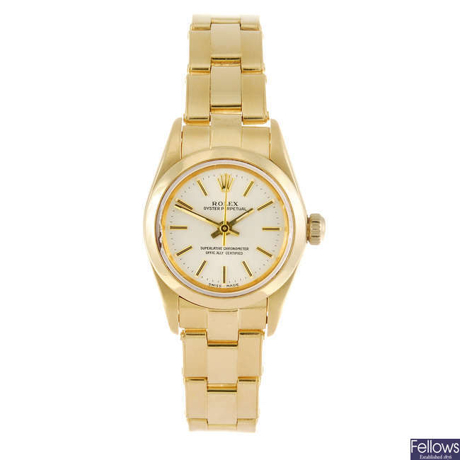 ROLEX - a lady's 18ct yellow gold Oyster Perpetual bracelet watch.