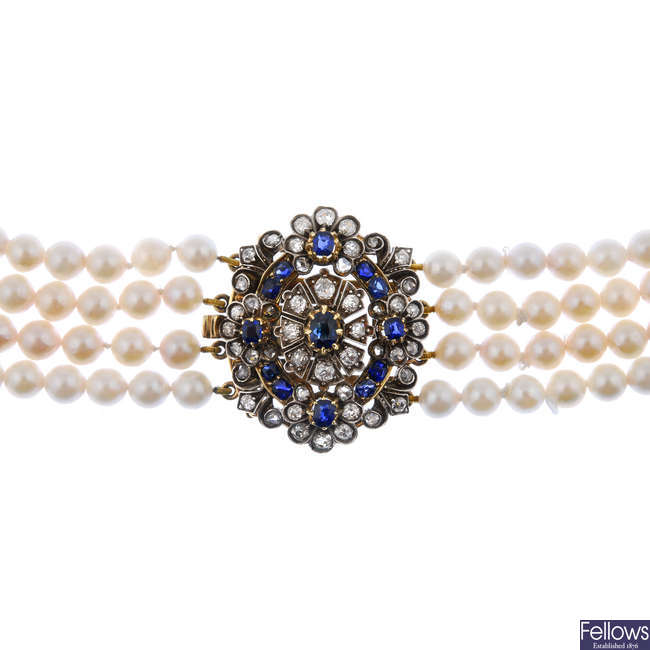 A sapphire, diamond and cultured pearl four-row necklace.