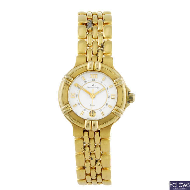 MAURICE LACROIX - a lady's gold plated Calypso bracelet watch.