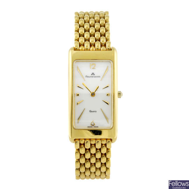 MAURICE LACROIX - a lady's gold plated bracelet watch.