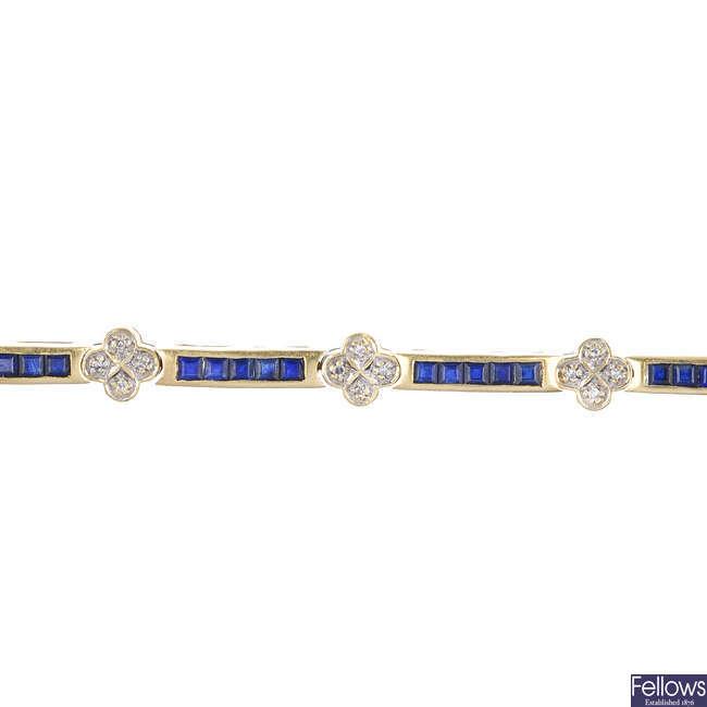 An 18ct gold diamond and sapphire bracelet.