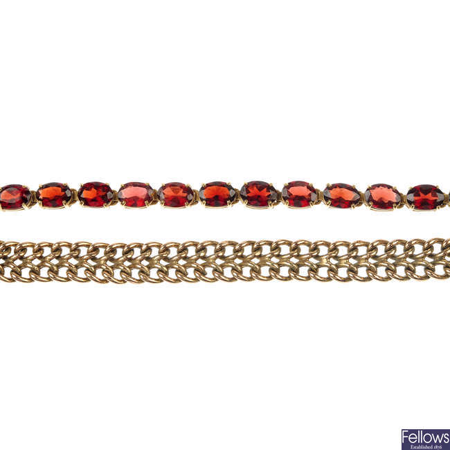 A 9ct gold garnet bracelet and a 9ct gold curb-link bracelet.