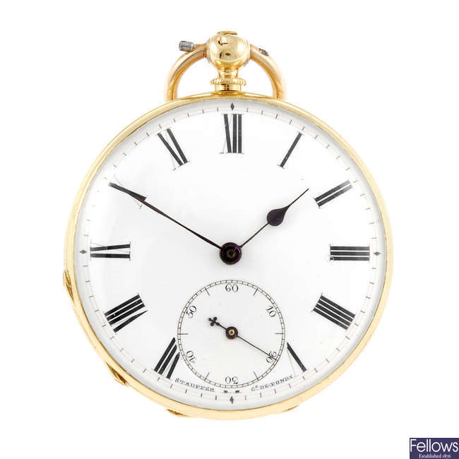 A yellow metal open face pocket watch by Stauffer