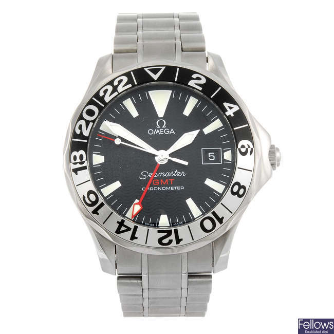 OMEGA - a gentleman's Seamaster Professional GMT bracelet watch.