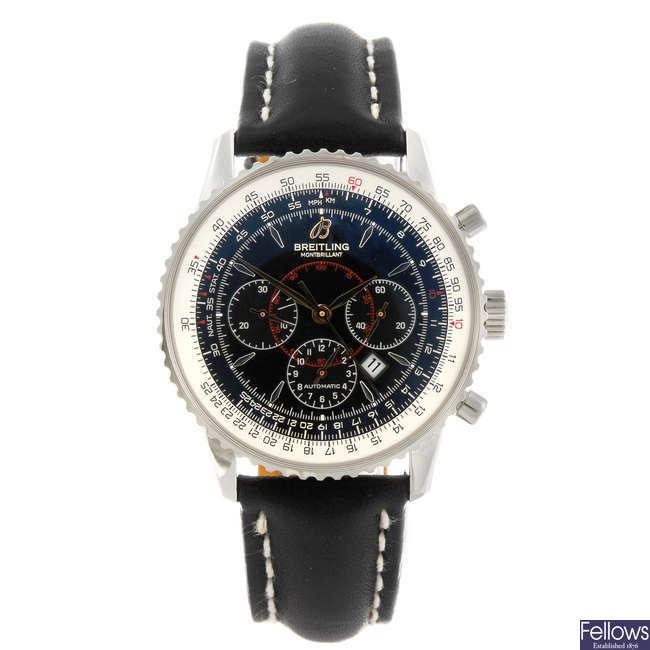 BREITLING - a gentleman's stainless steel Montbrilliant chronograph wrist watch.