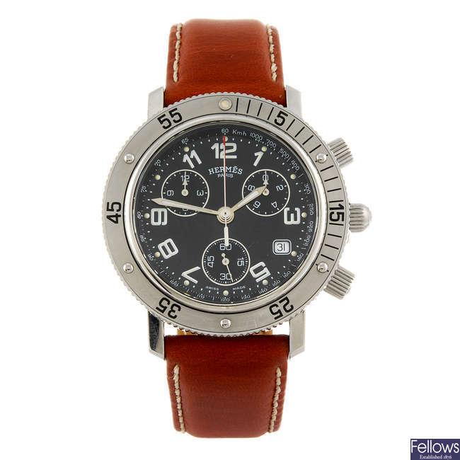 HERMES - a gentleman's stainless steel Clipper chronograph wrist watch.