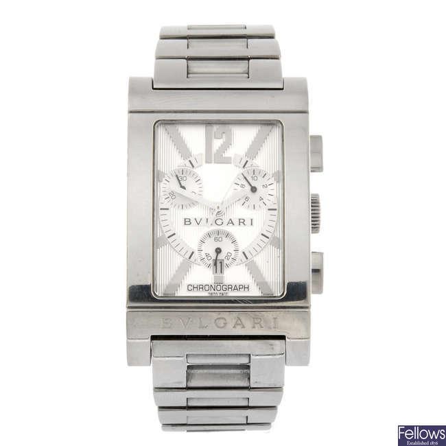 BULGARI - a gentleman's Rettangolo chronograph bracelet watch.