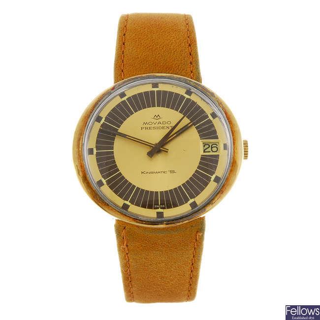 MOVADO - a gentleman's bi-colour President Kingmatic S wrist watch.