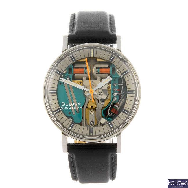BULOVA - a gentleman's stainless steel Accutron Spaceview wrist watch.