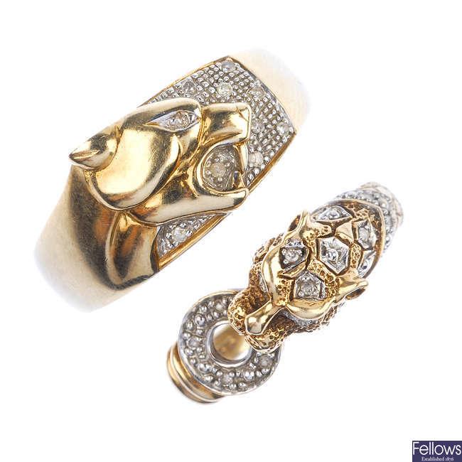Two 9ct gold diamond wild cat rings.