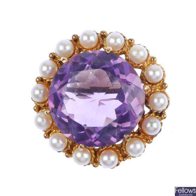 An amethyst and cultured pearl brooch.