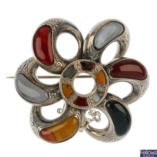 A late 19th century Scottish agate brooch.