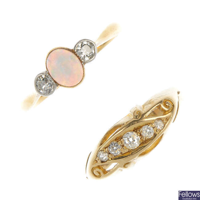 Two early 20th century 18ct gold gem-set rings.