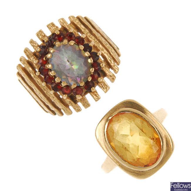 Two 1960s 9ct gold gem-set dress rings.