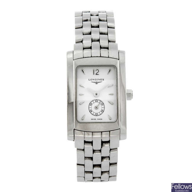 LONGINES - a lady's stainless steel Dolce Vita bracelet watch.