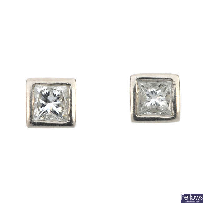A pair of 18ct gold diamond square-cut ear studs.