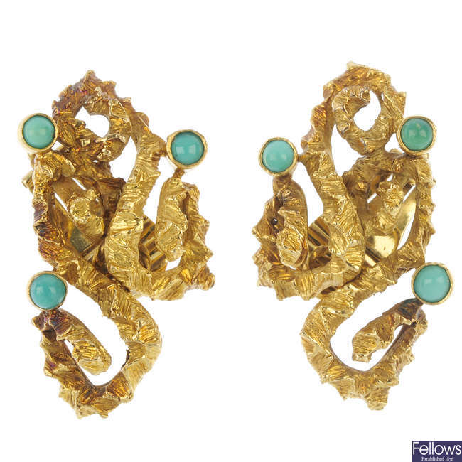 A pair of mid 20th century turquoise ear clips.