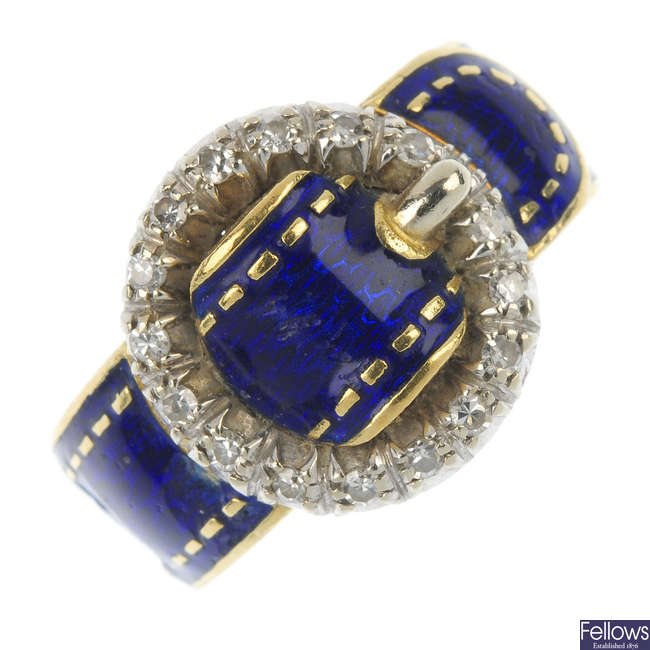 A diamond and enamel buckle ring.