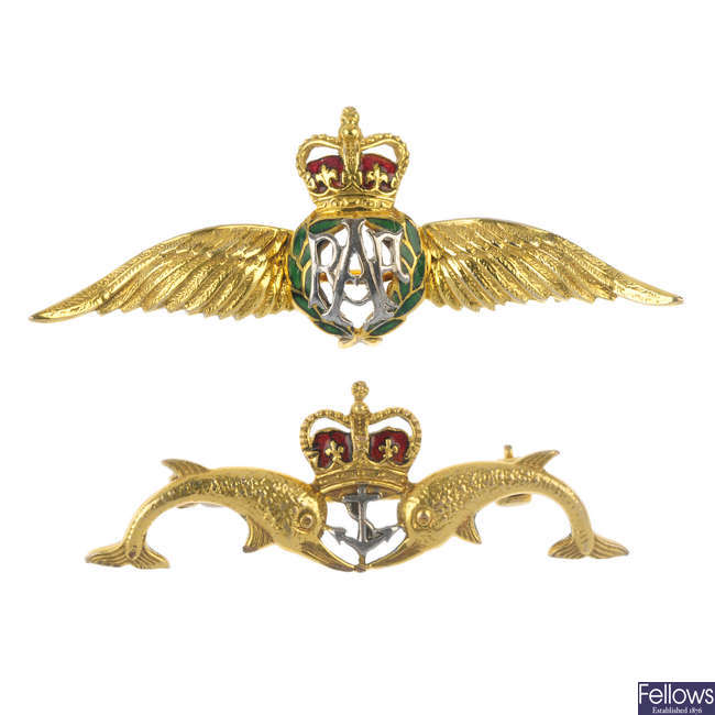 Two 9ct gold and enamel Regimental pins.