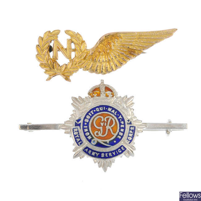 A selection of three Regimental and similar items of jewellery.