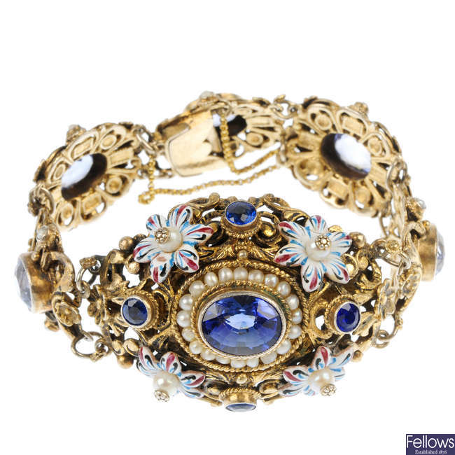 An Austro-Hungarian synthetic sapphire, cultured pearl and enamel bracelet.