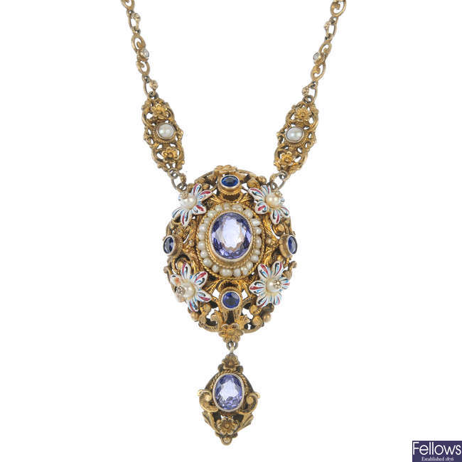 An Austro-Hungarian synthetic sapphire, cultured pearl and enamel necklace.