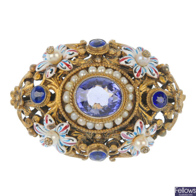 An Austro-Hungarian synthetic sapphire, cultured pearl and enamel brooch.