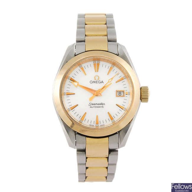 OMEGA - a lady's bi-metal Seamaster Aqua Terra bracelet watch.