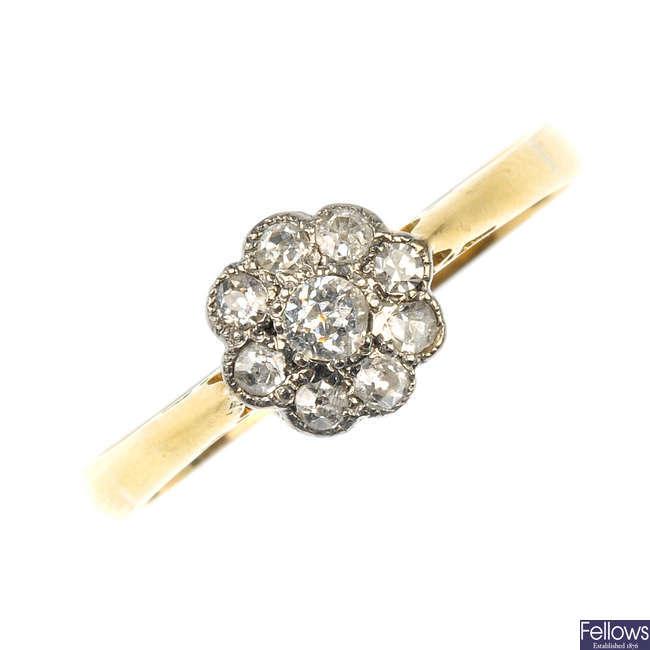 A diamond flower ring.