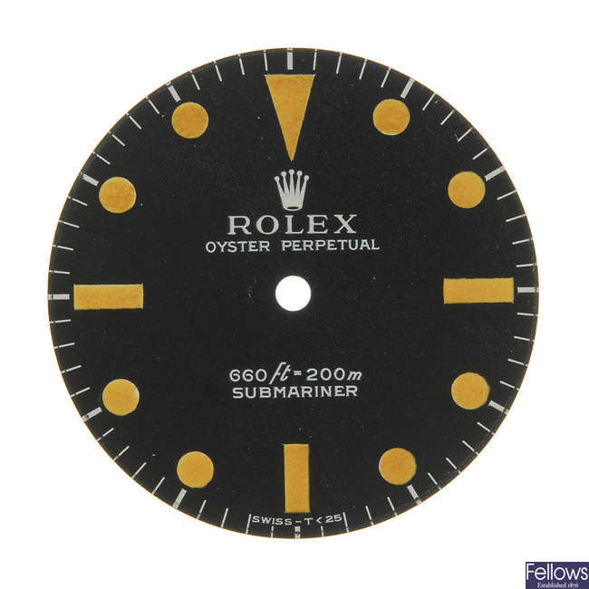 ROLEX - a matt black Singer dial with white writing for a Submariner.