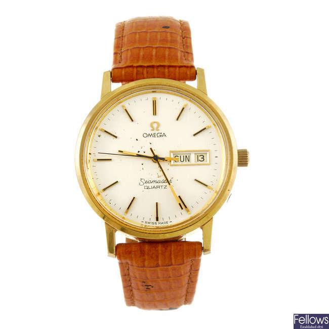 OMEGA - a gentleman's Seamaster Quartz wrist watch.