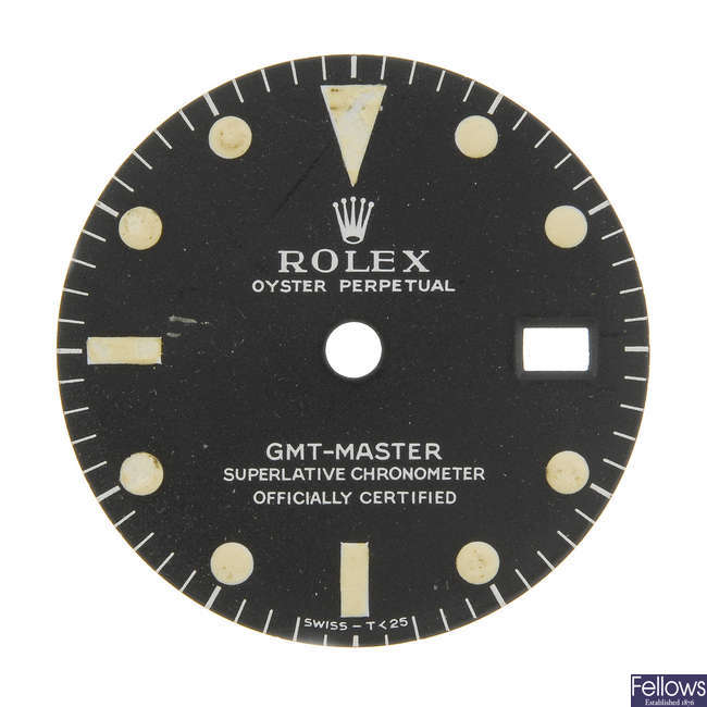 ROLEX - a matt black Singer dial with white writing for a GMT-Master.