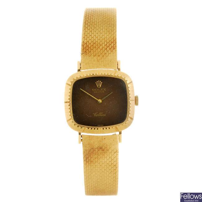 ROLEX - a lady's 18ct gold Cellini bracelet watch.