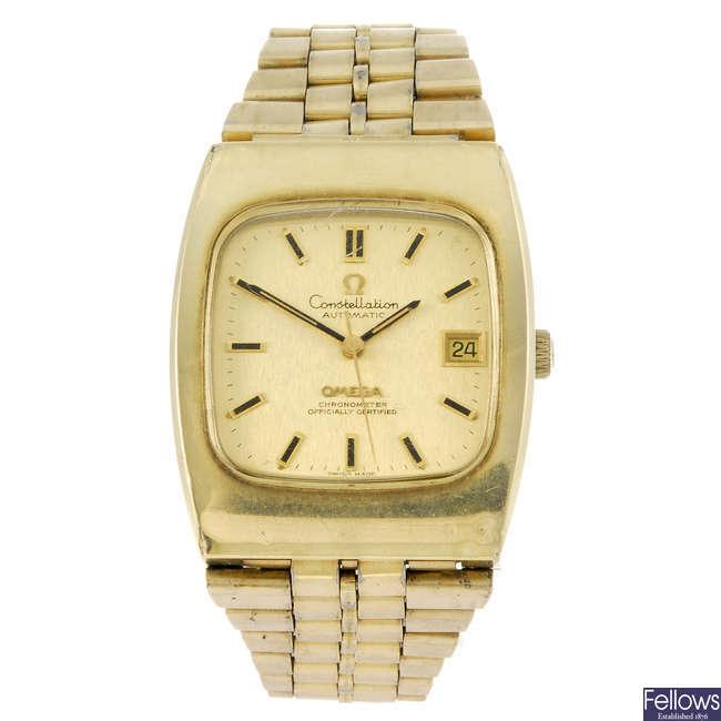 OMEGA - a gentleman's gold plated Constellation bracelet watch.