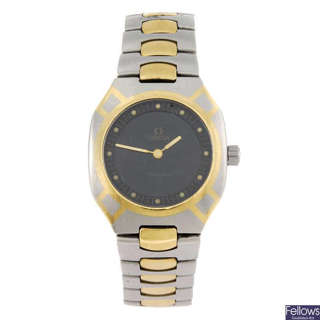 OMEGA - a gentleman's bi-colour Seamaster Polaris bracelet watch.