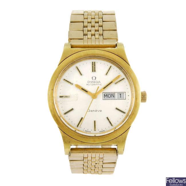 OMEGA - a gentleman's gold plated Geneve bracelet watch.