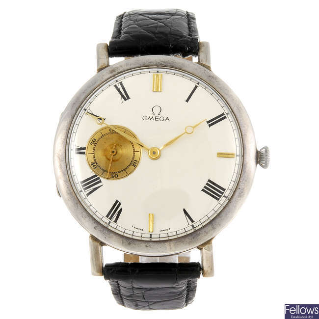 OMEGA - a white metal pocket watch converted to form a wrist watch.