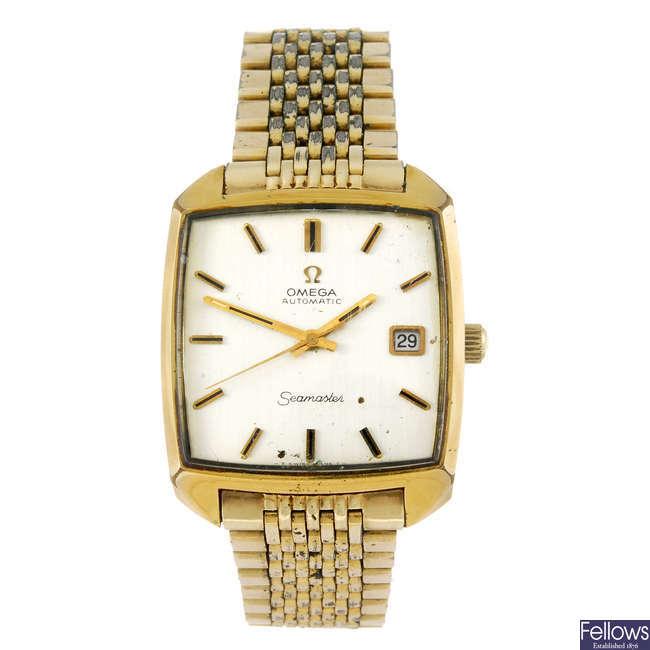 OMEGA - a gentleman's gold plated Seamaster bracelet watch.