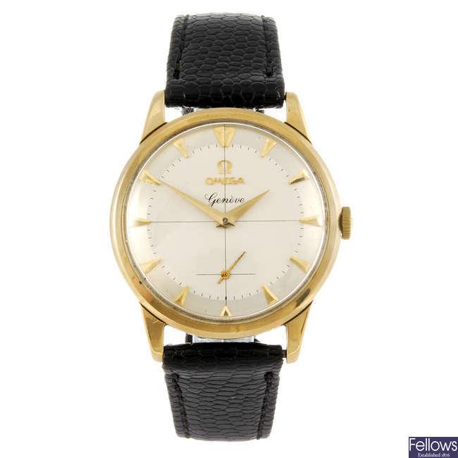 OMEGA - a gentleman's 9ct gold Geneve wrist watch.