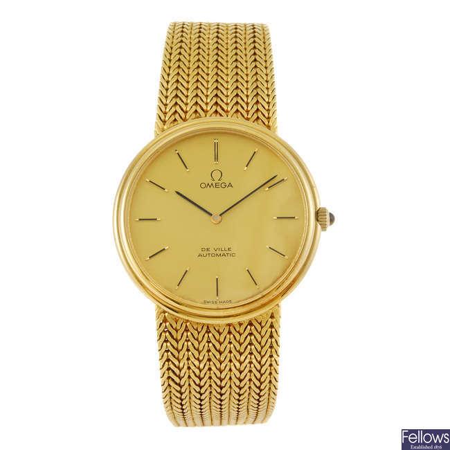 OMEGA - a gentleman's 18ct gold De Ville bracelet watch.
