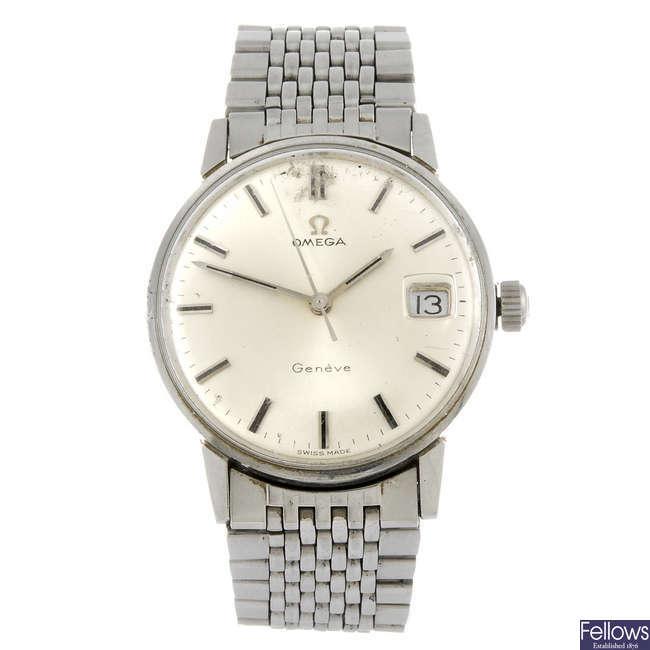 OMEGA - a gentleman's stainless steel Geneve bracelet watch.