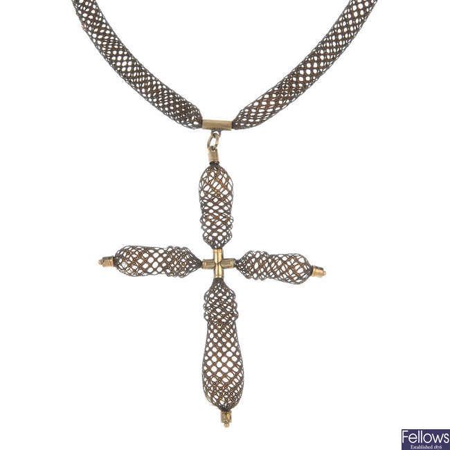 An early 19th century memorial woven hair cross pendant