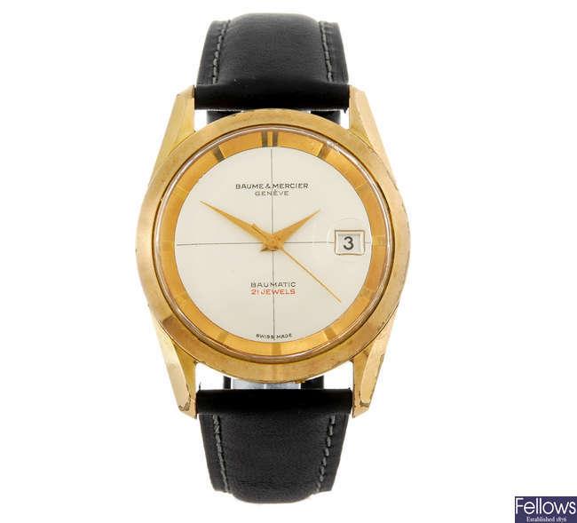 BAUME & MERCIER - a gentleman's gold plated Baumatic wrist watch.