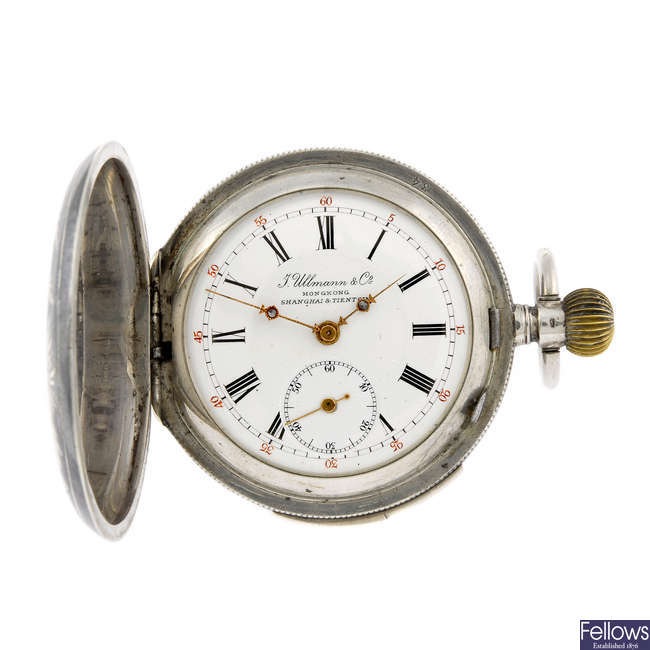 A silver full hunter quarter repeater pocket watch by J. Ullmann & Co.